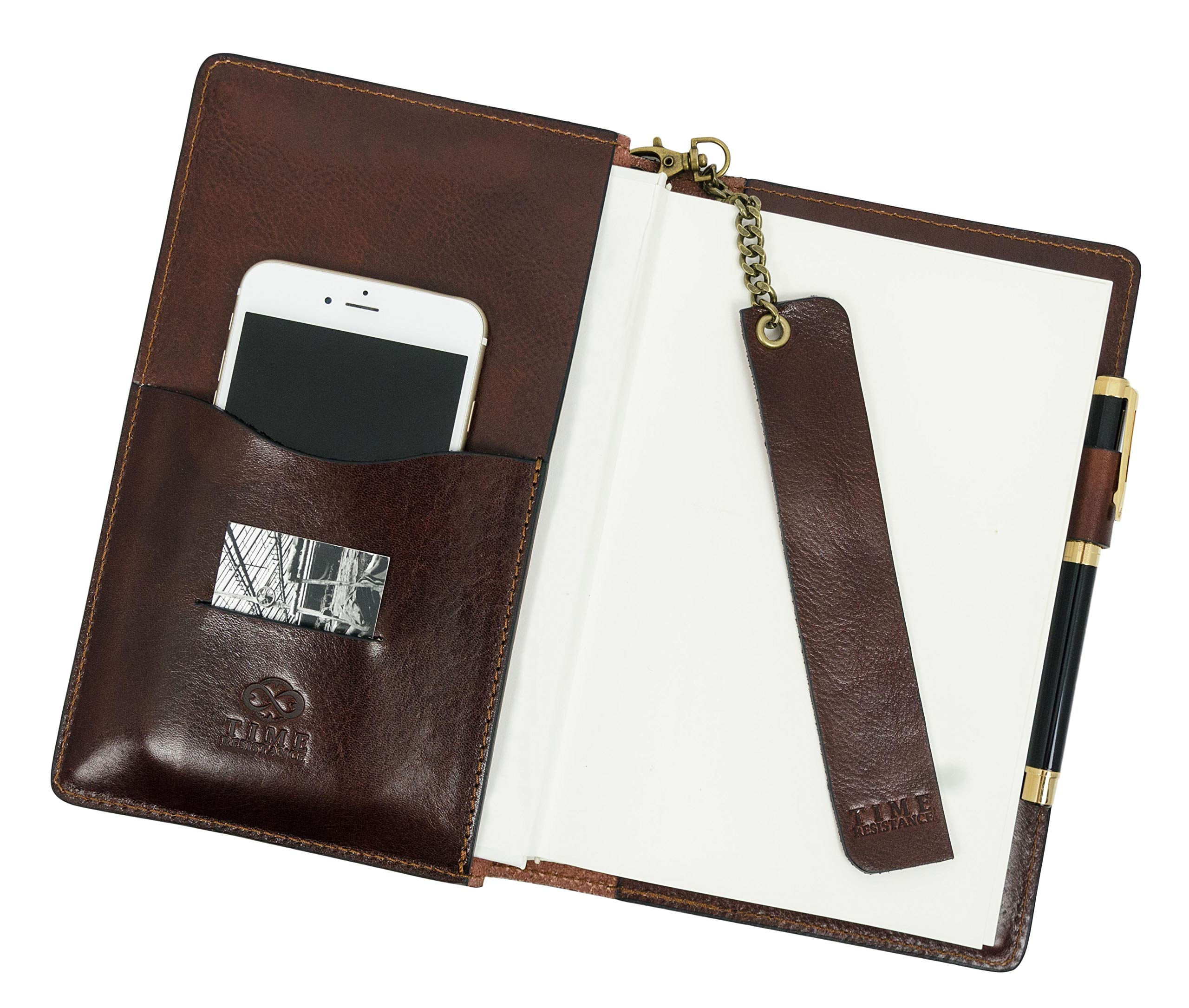 Leather Journal with Refillable A5 Notepad and Bookmark Notebook Cover with Pen Loop Brown Time Resistance