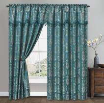 Simple Classic. Jacquard Window Curtain Panel Drape with Attached Wave Valance. 2pcs Set. Each pc 54 inches Wide x 84 inches Drop with Valance. (Peacock Blue)