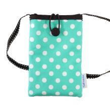 Tainada Small Crossbody Smartphone Pouch, Shockproof Cross Body Shoulder Wallet Travel Purse Bag for iPhone 12 Pro, 12 mini, 11 Pro, Samsung Galaxy A52, S20, Note10, LG K31, V50 (Polka Dots Turquoise)