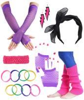 Besteel 80s Outfit Costume Accessories Headband Neon Earrings Fishnet Gloves Leg Warmers Bracelet Sets