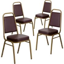 Flash Furniture 4 Pk. HERCULES Series Trapezoidal Back Stacking Banquet Chair in Brown Vinyl - Gold Frame