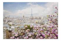 Paris, France - Skyline with Eiffel Tower in Spring with Magnolias 9003307 (Premium 1000 Piece Jigsaw Puzzle for Adults, 20x30, Made in USA!)