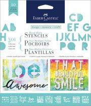 Faber-Castell Mixed Media Paper Stencils - 301 Collection - 10 Reusable Lettering Stencils