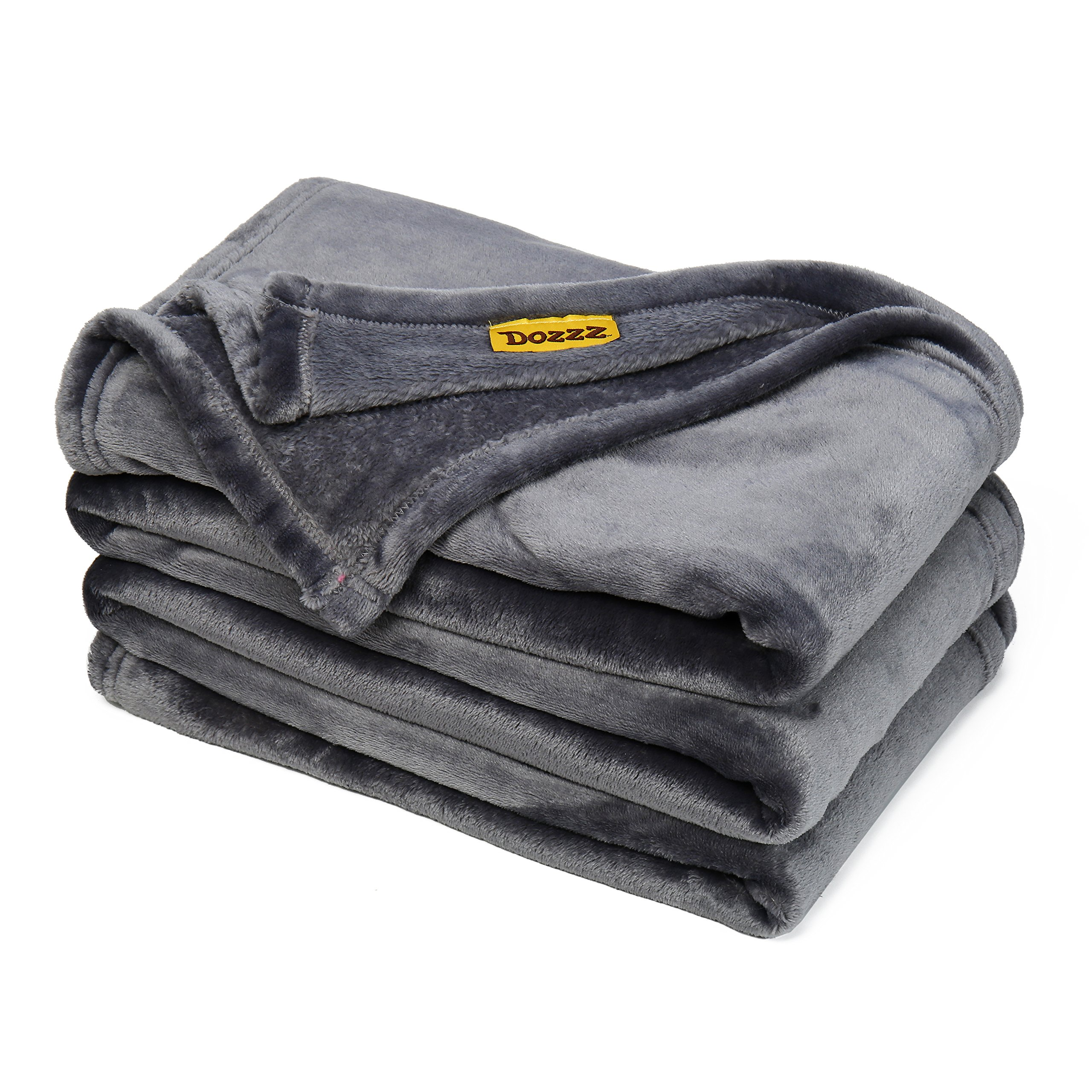 DOZZZ Oversize Flannel Throw Blanket with Cozy Plush Soft Cover for Sofa Chair and Bed Furniture Gift Grey