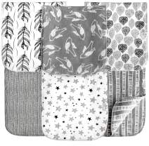 Cambria Baby Organic Cotton Premium Burp Cloths. XL Coverage. 2 Outer Layers of Organic Cotton w/Absorbent Inner Layer of Polyester Fleece. Reversible. Grays for Boys and Girls. Chemical-Free. 6 Pack