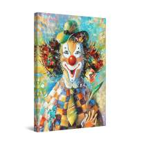 "Startonight Canvas Wall Art Abstract - Clown at The Party, Orange Details Painting - Large Artwork Print for Living Room 32"" x 48"""