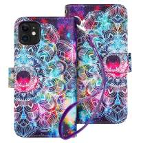 HianDier Case for iPhone 11 Wallet Cases with Card Holder 9 Slots Detachable PU Leather Flip Cover Shockproof Magnetic Clasp Lanyard Dual Layer Wallet Case for 2019 iPhone 11 6.1 Inches, Mandala