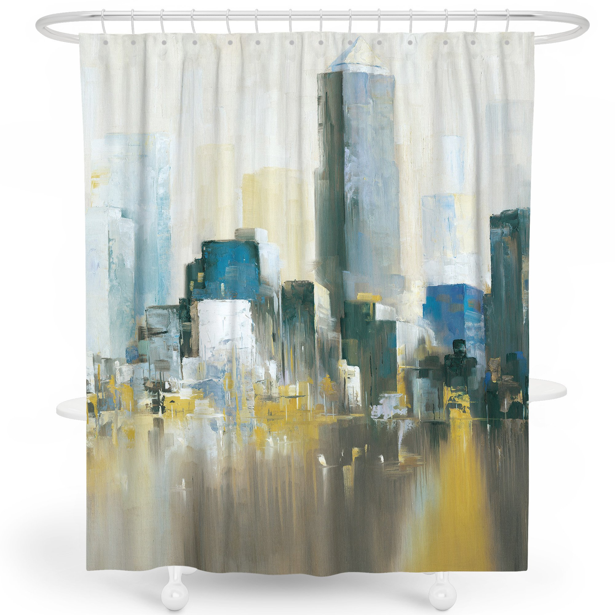 LIVETTY Kids Shower Curtain Oil-Painting New York City Scene Modern View Water-Proof Fabric for Bathroom Decor Weighted Hem 72x79 Inch Hooks Included