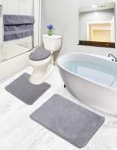 Ottomanson ECO Collection Bathroom Mat Set, 3 Pieces, Grey