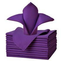 VEEYOO Cloth Napkins - Set of 12 Pieces 17 x 17 Inch Solid Polyester Table Napkins - Soft Washable and Reusable Dinner Napkin for Weddings, Parties, Restaurant (Purple Napkins Cloth)