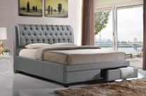 Baxton Studio Ainge Contemporary Button-Tufted Fabric Upholstered Storage Bed with 2 Drawers, King, Grey