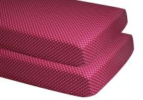 Bacati - Pin Dots 100 Percent Cotton Bed Sheets (2 Pack Crib/Toddler Bed Fitted Sheets, Fuschia)