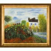overstockArt Monet Artist's Garden with Athenian Gold Frame Oil Painting, Antique Finish