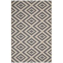 Modway Jagged Geometric Diamond Trellis 5x8 Indoor and Outdoor In Gray and Beige