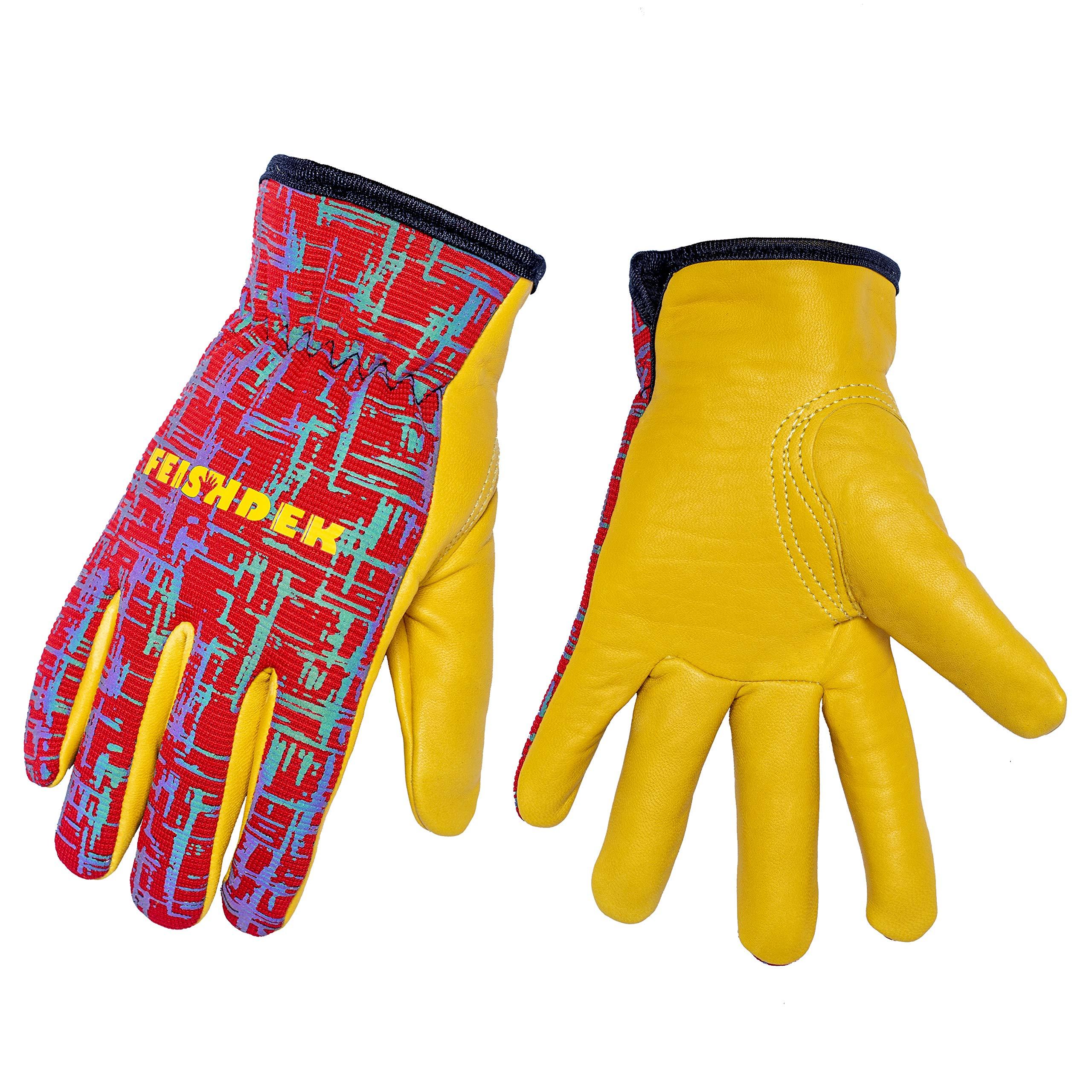 Kids Genuine Leather Work Gloves, Kids Gardening Work Gloves Safety Gloves, Reflective, Breathable Design, Perfect for Children Gardening, Yard Work, Outdoor (Medium, Red, 6-8 Years Old)