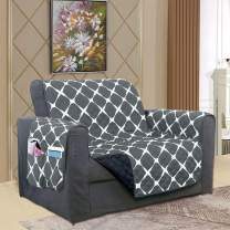 Elegant Comfort Luxury Bloomingdale Pattern Reversible 2-Tones Quilted Furniture Protector Slipcover with Smart Pockets and Elastic Straps, Great for Pets and Kids