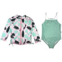 SwimZip Girl Long Sleeve Rash Guard & 1 Piece Swimsuit UPF 50 (Multiple Colors)