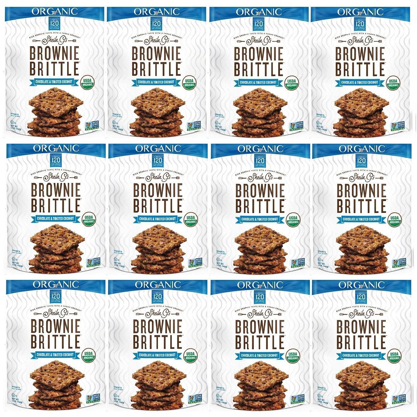 Sheila G's Brownie Brittle, Organic Non-GMO Chocolate & Toasted Coconut, 5 Ounce Bag (Pack of 12) (Packaging May Vary)
