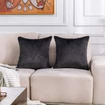 Home Brilliant Supersoft Faux Fur Euro Shams Large Throw Pillow Covers for Patio Floor Bed Couch, Pack of 2, 26 x 26 inches, 66cm, Dark Grey