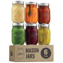 Regular Mouth Glass Mason Jars, 16 Ounce (6 Pack) Glass Canning Jars with Silver Metal Airtight Lids and Bands with Measurement Marks, for Canning, Preserving, Meal Prep, Overnight Oats, Jam, Jelly,