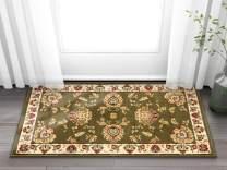 "Well Woven Abbasi Green Traditional 2'3"" x 3'11"" Door Mat Accent Small Kitchen Rug Bathroom Foyer Area Rug 3605"