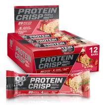BSN Protein Bars - Protein Crisp Bar by Syntha-6, Whey Protein, 20g of Protein, Gluten Free, Low Sugar, Strawberry Crunch, 12 Count