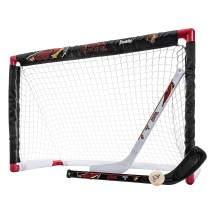 Franklin Sports NHL Mini Hockey Sets - Knee Hockey Goal, Ball, & 2 Hockey Stick Combo Set - Mini Goal Net - NHL Official Hockey Sets