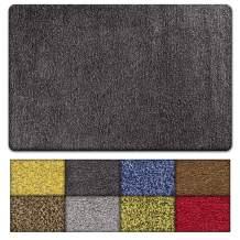 Kaluns Door Mat, Front Doormat, Super Absorbent Mud Mats, Doormats for Entrance Way, Entry Rug, Non Slip PVC Waterproof Backing, Shoe Mat for Entryway, Machine Washable (3'x6' Large, Black/Grey)