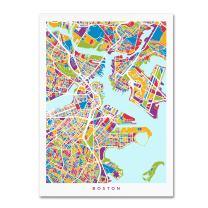 Boston MA Street Map 2 by Michael Tompsett, 18x24-Inch Canvas Wall Art
