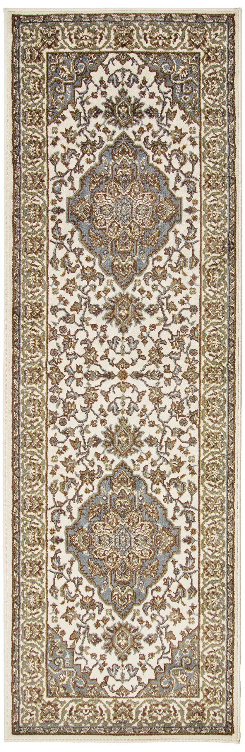 """Superior Elegant Glendale Collection Area Rug, 8mm Pile Height with Jute Backing, Traditional Oriental Rug Design, Anti-Static, Water-Repellent Rugs - Green, 2'7"""" x 8' Runner"""