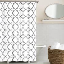 Echelon Home Quatrefoil Shower Curtain, Zinc