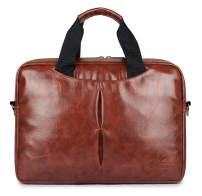 "14"" Softsided Vegan Leather Laptop Briefcase, Laptop Messenger Bag, Office Bag"