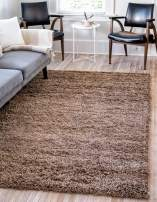 Unique Loom Solo Solid Shag Collection Modern Plush Sandy Brown Area Rug (3' 3 x 5' 3)
