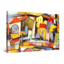 """Startonight Canvas Wall Art Dali Style City Colored Painting Framed 32"""" x 48"""""""