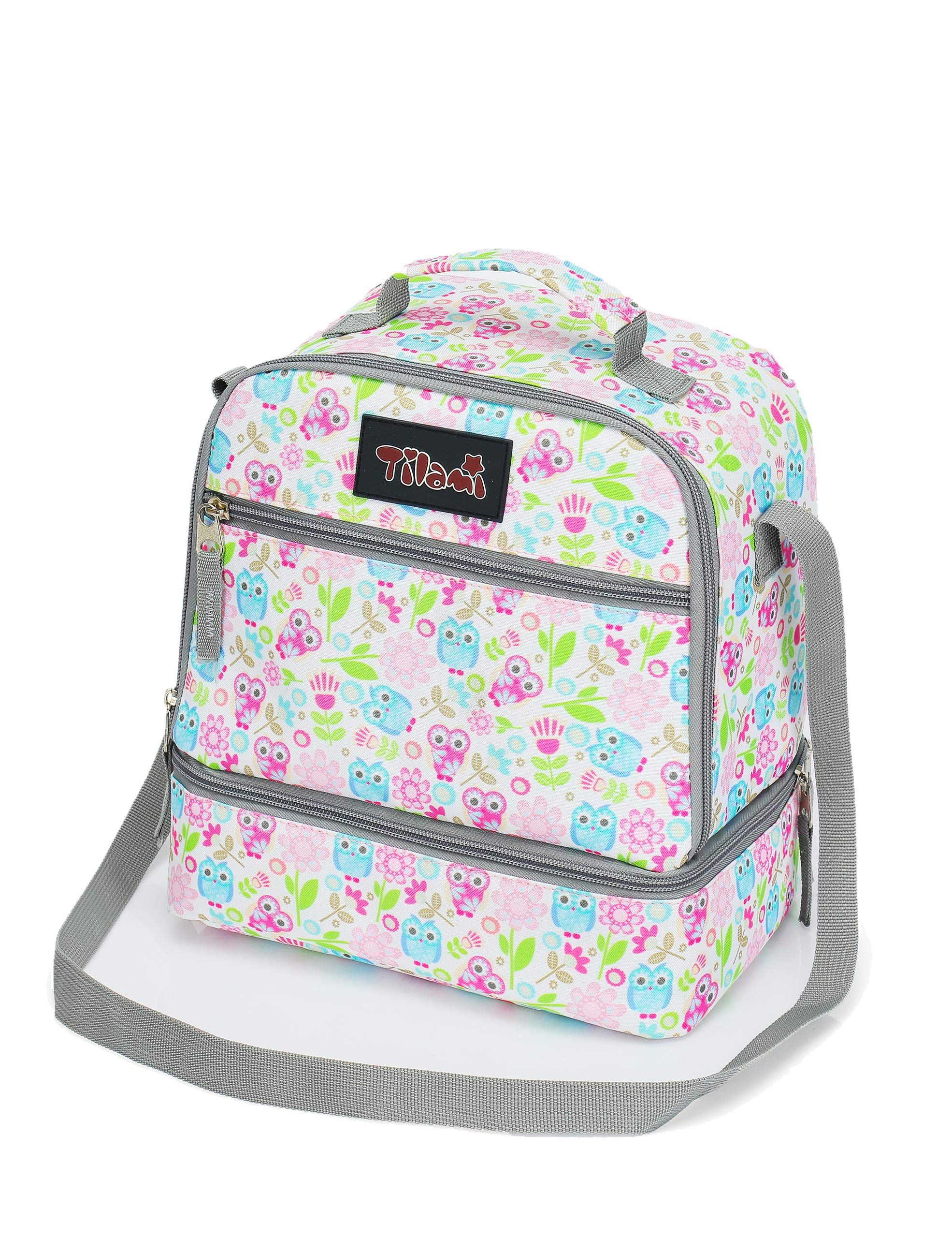 Tilami Lunch Bags Insulated Adjustable Strap Zipper, Two Compartments Cooler Bags, Bento Bags for Kids Toddlers, Owl