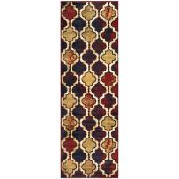 """Superior Modern Viking Collection Area Rug, 10mm Pile Height with Jute Backing, Chic Textured Geometric Trellis Pattern, Anti-Static, Water-Repellent Rugs - Red Blue, 2'7"""" x 8' Runner"""