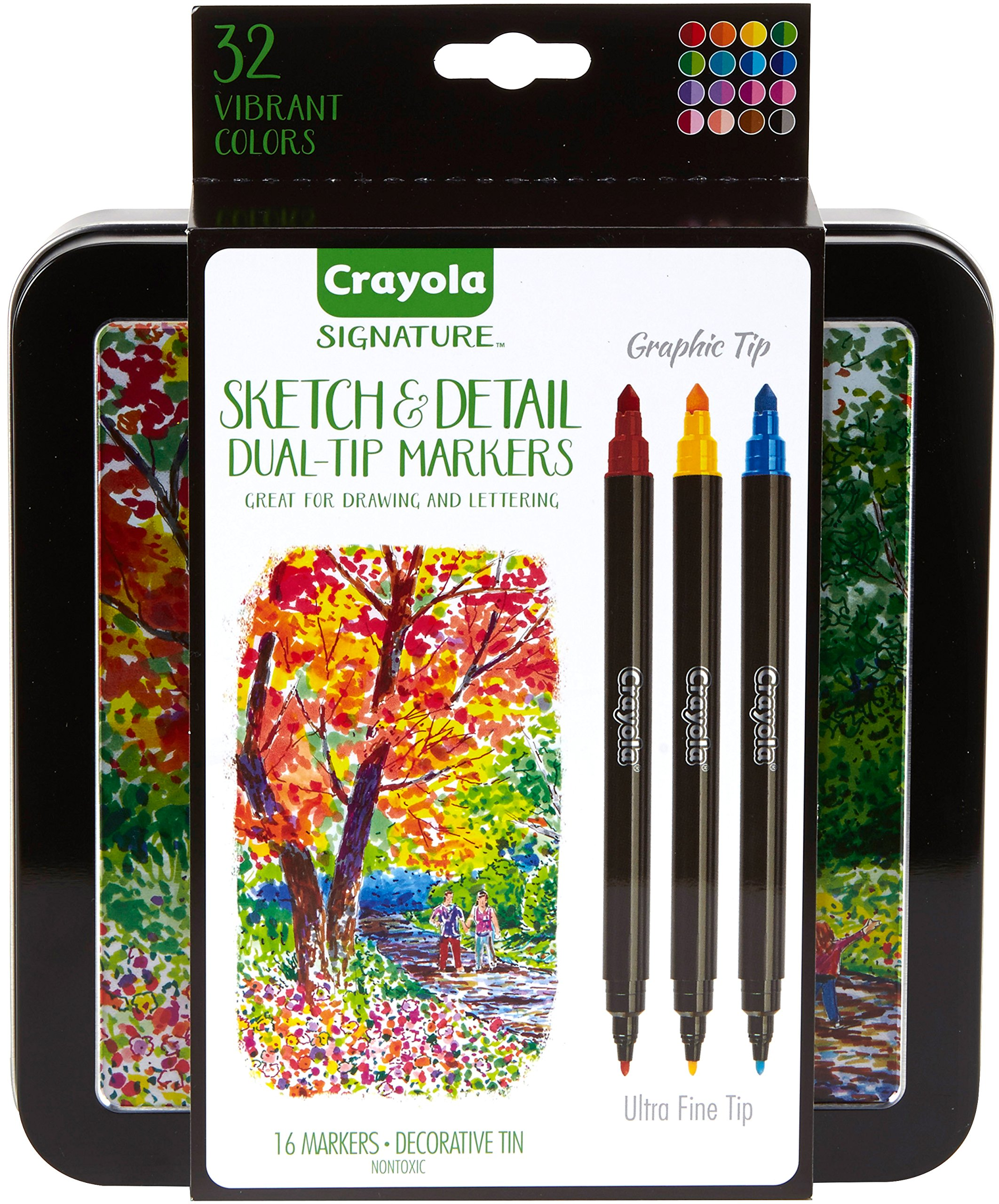 Crayola Sketch & Detail Dual-Tip Markers, 16Count, Gift