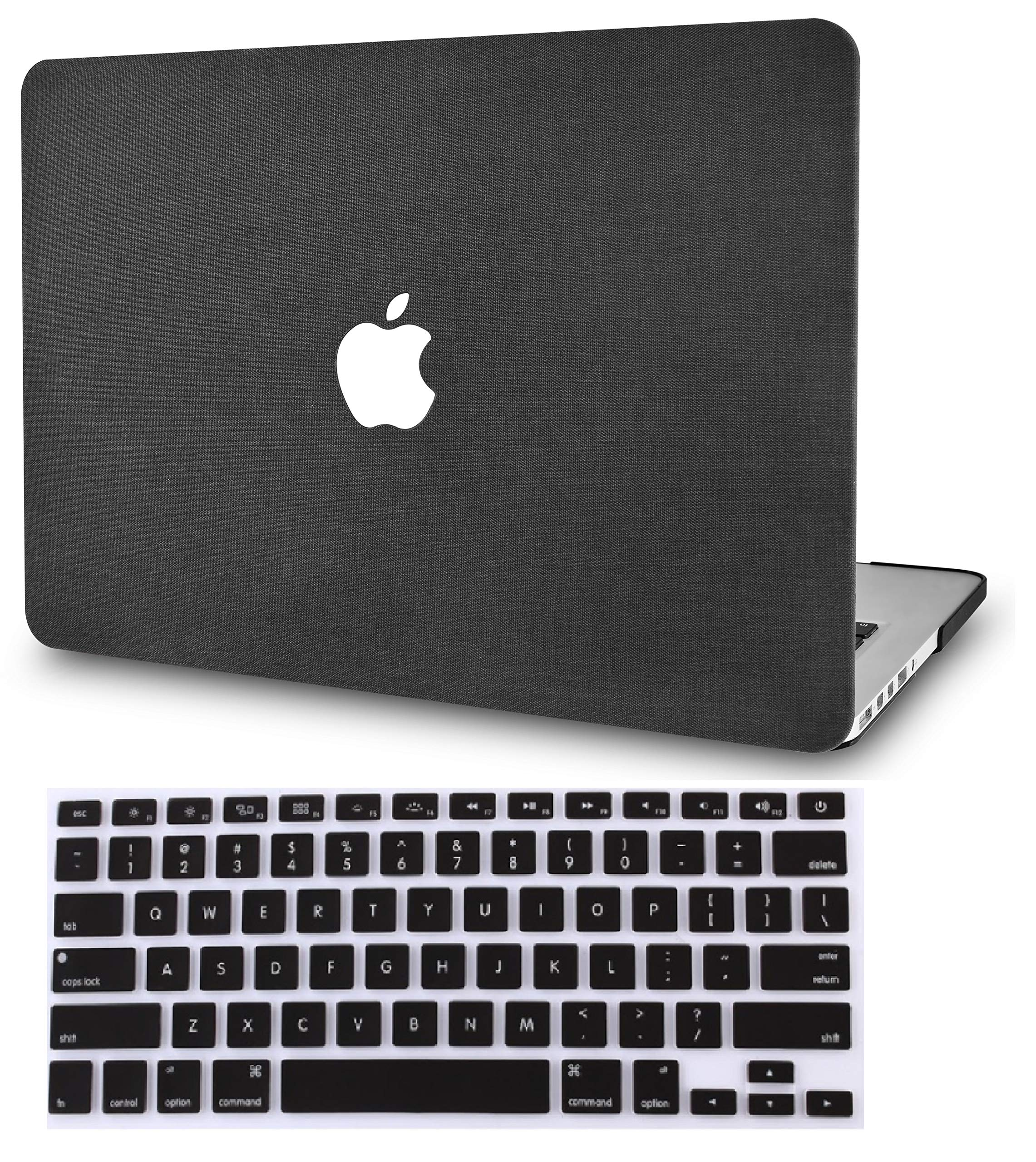 """KECC Laptop Case for MacBook Pro 13"""" (2020/2019/2018/2017/2016) w/Keyboard Cover Plastic Hard Shell A2159/A1989/A1706/A1708 Touch Bar 2 in 1 Bundle (Black Fabric)"""