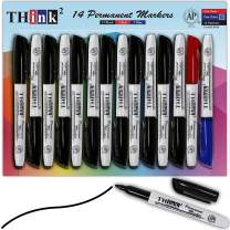 [14 Markers - 12 Black + Red + Blue] Think2 Bullet Tip Permanent Markers. (12 Black, 1 Red, 1 Blue) For Paper, Plastic, Stone, Metal and Glass. Waterproof, Nontoxic & Low Odor. For Kids & Adults