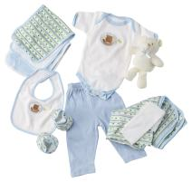 Big Oshi 10 Piece Layette Newborn Baby Gift Basket for Boys - Great Baby Shower or Registry Gift Box to Welcome a New Arrival - All Essentials Including: Bodysuit, Blanket, Bib, and Booties, Blue