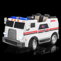 SUPERtrax Big Rig Emergency Kid's Ride On 4 Wheel Drive Ambulance Electric Toy Car 12V - EVA Foam Rubber Tires, Remote Control, Leather Seat, Free MP3 Player - White