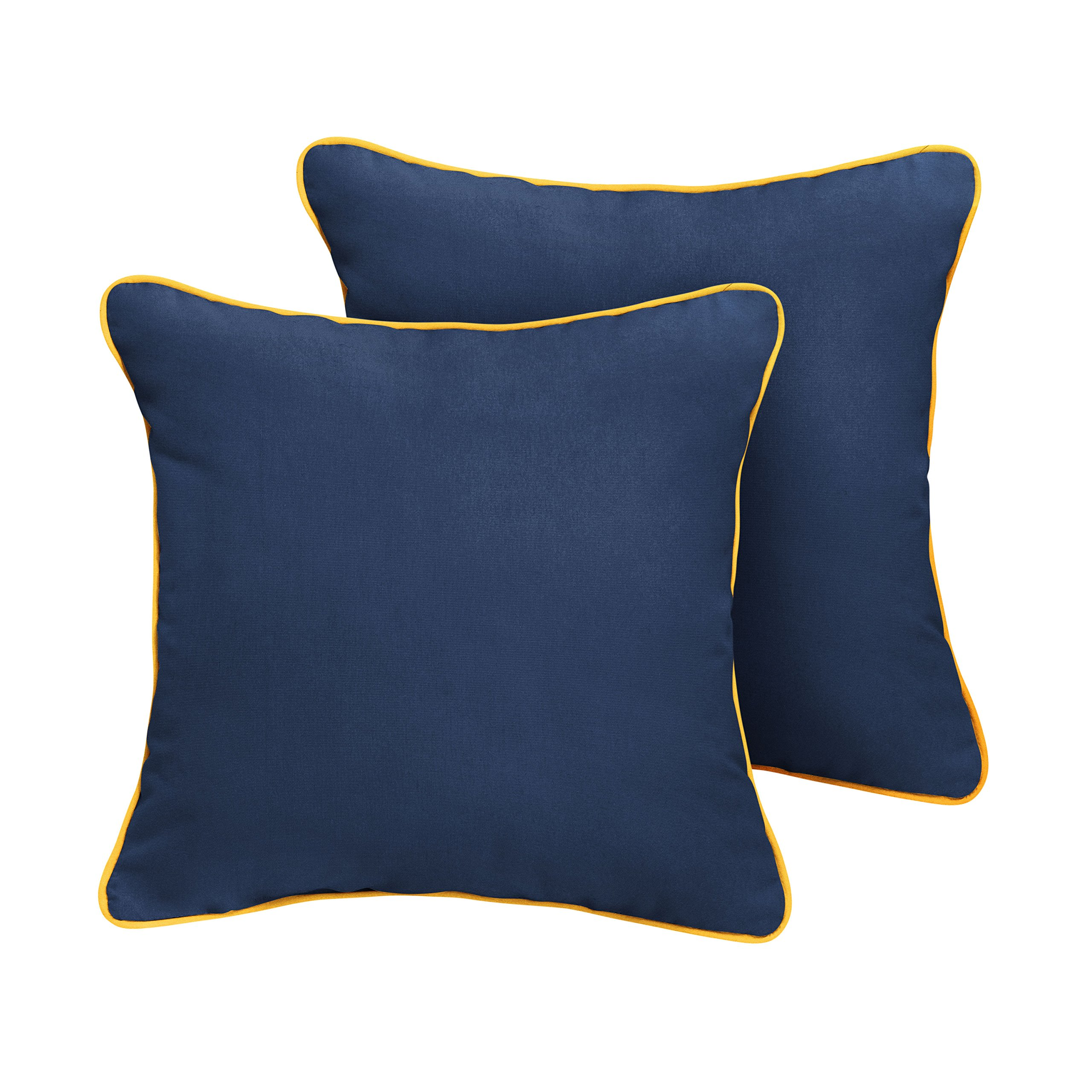 Mozaic Company Sunbrella Indoor/ Outdoor Corded Pillows, Canvas Navy and Sunflower Yellow, Set of 2