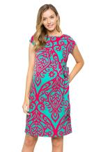 My Bump Women's Side Bow Tie Pattern Cap Sleeve Maternity Dress(Made in USA)