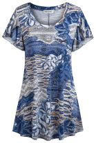 Ouncuty Womens Scoop Neck Short Sleeve Casual Floral Dressy Tunic Blouses Shirts
