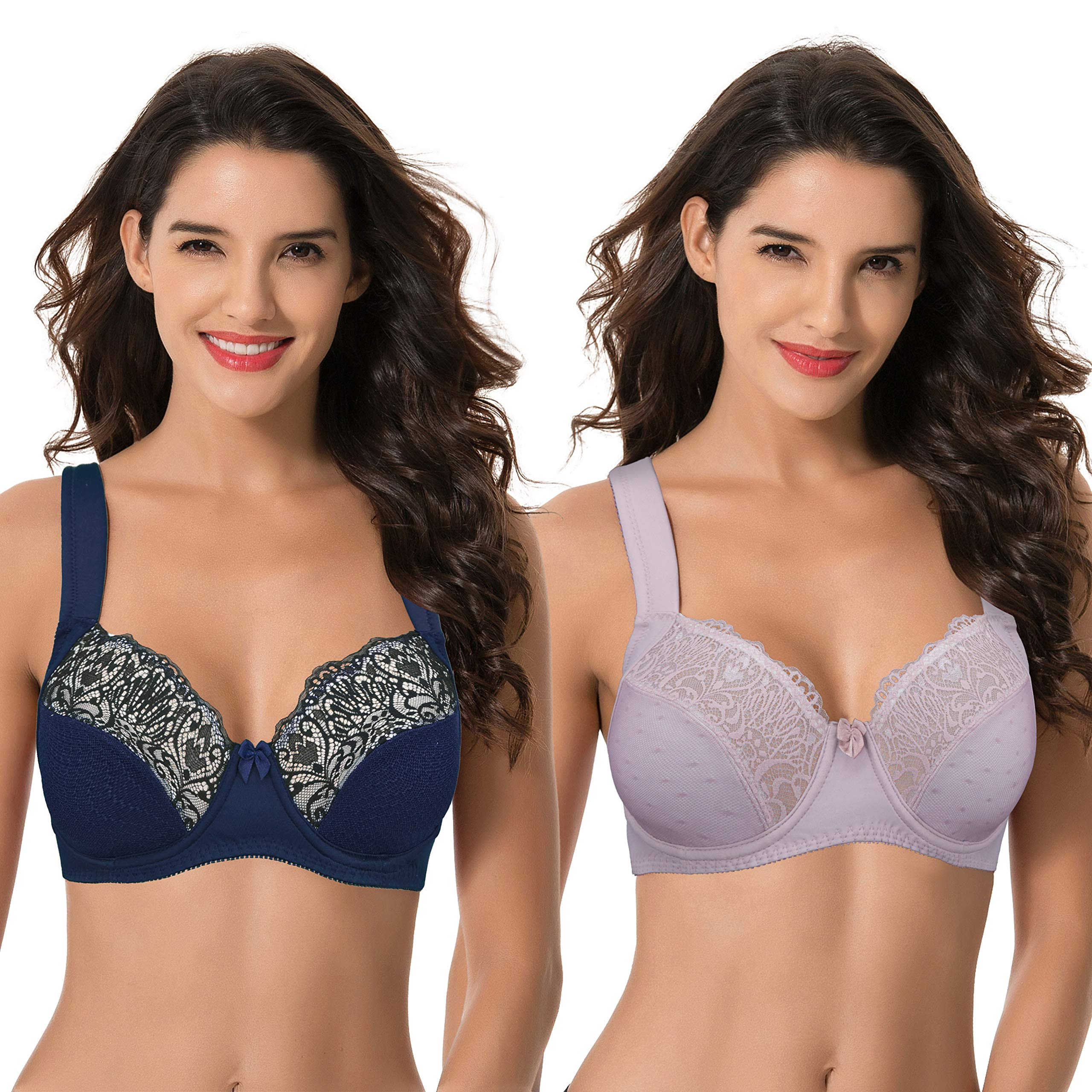 Curve Muse Plus Size Unlined Underwire Lace Bra with Padded Shoulder Straps-2PK