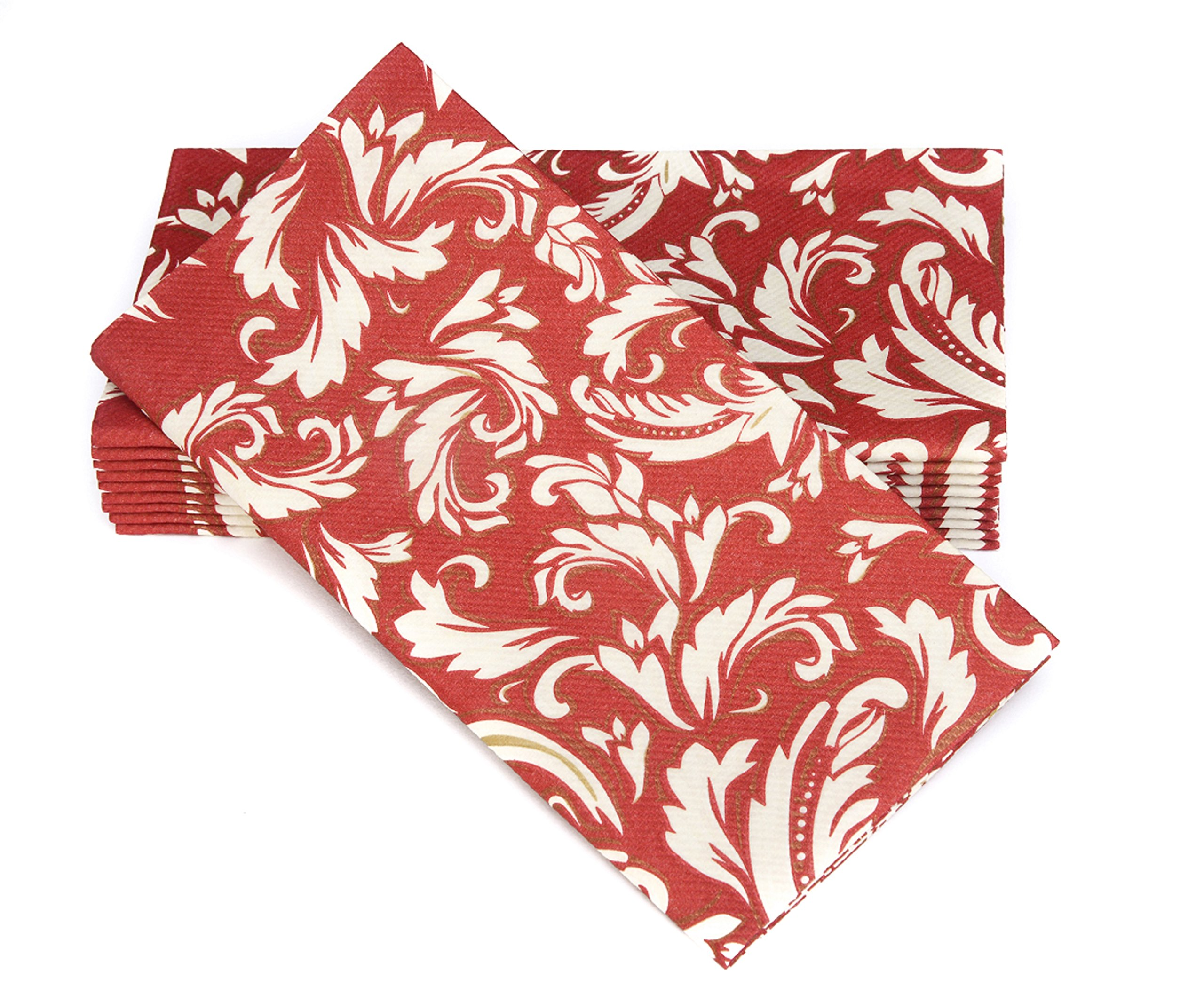 """Simulinen Colored Napkins - Decorative Cloth Like & Disposable, Dinner Napkins - Burgundy with Champagne & Gold - Soft, Absorbent & Durable - 16""""x16"""" - Great for Any Occasion! - Box of 50"""