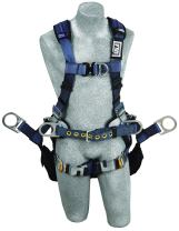 3M DBI-SALA ExoFit XP 1110303 Tower Climbing Harness, Front/Back/Side D-Rings, Belt w/Back Pad, Seat Sling w/Position Rings, QC Buckles, X -Large,Blue/Gray