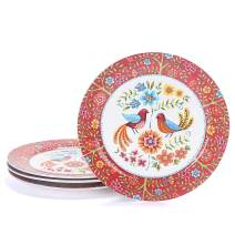 Bico Red Spring Bird Ceramic Dinner Plates Set of 4, 11 inch, for Pasta, Salad, Maincourse, Microwave & Dishwasher Safe