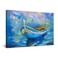 "Startonight Canvas Wall Art Abstract Beach Painting Blue Boat, Framed 32"" x 48"""