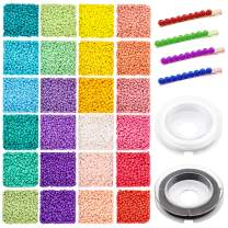 7200pcs Glass Seed Beads 2mm 12/0 Small Craft Beads Christmas Pony Beads with Elastic Bracelet String Cord for DIY Bracelet Necklaces Crafting Jewelry Making Supplies(300Pcs Per Color, 24 Colors)